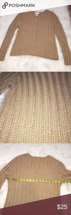 """Talbots Tan Cable Knit Sweater.  Size Large.  EUC. Wear with everything tan cable sweater by Talbots.  81% Viscos Rayon and 19% Linen.  Approximate measurements:  Overall length- 20.5, sleeve length- 22"""", bust flat across 18"""" armpit to armpit.  Excellent gently loved condition.  From a a smoke free home. Talbots Sweaters V-Necks"""