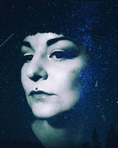 Still having way to much fun with @snapseed.photo  - -  #anotherselfie #selportrait #photomanipulation #filters #doubleexposure #nightsky #stars #myface #medusapiercing #makeup #bangs #bluehues
