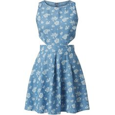 Madam Rage Blue Cut Out Floral Print Skater Dress (650 HNL) ❤ liked on Polyvore featuring dresses, vestidos, blue dress, blue flower dress, floral dress, chambray dress and skater dress