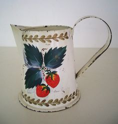 Vintage Tole Painted Strawberry Tin