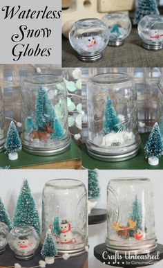 Waterless homemade snow globes Winter DIY Round up