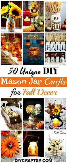 50 Unique DIY Mason Jar Crafts for Fall Decor - adney news Glow Mason Jars, Glow Stick Jars, Fall Mason Jars, Mason Jar Flowers, Mason Jar Candles, Mason Jar Diy, Diy Flowers, Mason Jar Projects, Mason Jar Crafts