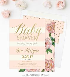 Pink and gold baby shower invitation printed invitations pink brie baby shower invitation blush pink roses stripes gold filmwisefo Gallery