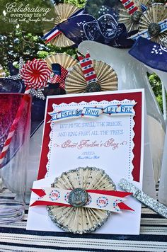 Paper medallions w/vintage military buttons, patriotic ribbons & vintage sheet music