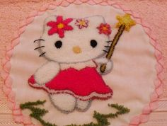 Hello Kitty en bordado chino / Hello Kitty with punchneedle - Igolochkoy needle