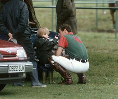 royalwatcher:  Young Prince Harry with his father the Prince of Wales