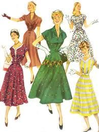 1950's style dresses, white gloves and purses