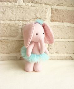 Ballerina Elephant  Soft Fabric Toy  Shabby Chic by sistersdreams, £13.00