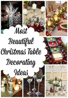 Most Beautiful Christmas Table Decorations Ideas All About Christmas – Hanukkah Christmas Open House, Christmas Eve Dinner, All Things Christmas, Christmas Crafts, Christmas Ideas, Christmas Table Settings, Christmas Party Decorations, Christmas Centerpieces, Christmas Tables