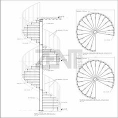Escaleras Metalicas / Planos - Metal Stairs ~ Zent Design on Amazing Stairs Ideas 693 Spiral Staircase Plan, Stair Plan, Modern Staircase, Staircase Design, Architecture Blueprints, Stairs Architecture, Architecture Design, Building Stairs, Metal Stairs
