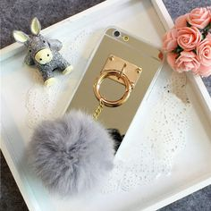 Info@lemoltd.com             3D Fluff POM POM Phone Back Cover Case with Mirror for iPhone Case Mobile Phone Cases, Iphone Cases, Makeup Yourself, Mirror, Handmade, Accessories, Beautiful, Middle, 3d