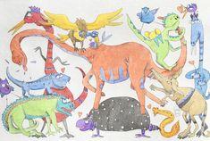 Hai mai visto tanti dinosauri insieme? Io li ho disegnati per il tuo bambino, in questo poster per cameretta! #dinosauri #poster #cameretta #bambini # illustrazioni #acquerello #illustrazionid'infanzia #dinosaurs #bedroom #poster #children #watercolor  #illustrationschildhood #illustrations