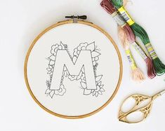 Letter A Embroidery Pattern Floral Embroidery Pattern PDF Diy Embroidery Flowers, Hand Embroidery Patterns Free, Embroidery Flowers Pattern, Simple Embroidery, Hand Embroidery Stitches, Embroidery Hoop Art, Pdf Patterns, Embroidery Letters, Embroidery Sampler