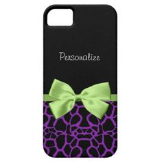 A trendy purple and black giraffe print iPhone 5 Barely There Case with a cute green ribbon bow wrapped like a present. Personalize by adding your name to this stylish women's animal print. Perfect for a fashionista teen girly girl!