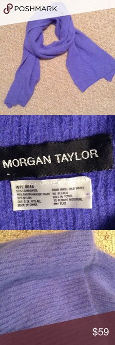 Rabbit hair Morgan Taylor Scarf This scarf is a beautiful blue purple color! This will keep you warm in the winter, has a little itch to it but is bearable because it's so soft! Made out of lambswool, rabbit hair and nylon! Open to reasonable offers! Morgan Taylor Accessories Scarves & Wraps