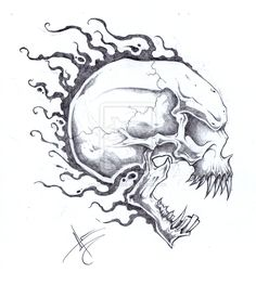 Flaming Skull Head Tattoo Design