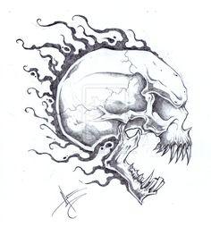 Flaming Skull Head Tattoo Design