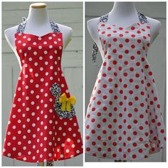 Minnie Mouse Apron Reversible Ready to Ship by pieshomecreations, $28.00