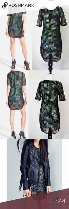 """NWT PacSun Foxiedox Mini Mesh Dress goth Sleeveless mini dress patterned with a splashy jungle print Sporty, ultra-modern look Colorful pattern with a mesh overlay Sheer sleeves and light weight fabric  Lined. 100% polyester. Machine wash cold, No care label Size small (34"""" length 12"""" sleeve length) Foxiedox Dresses Mini"""