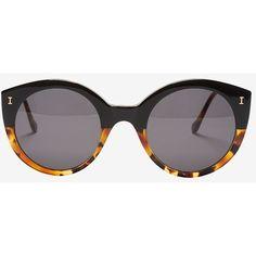 Illesteva Palm Beach Half Tortoise Sunglasses (4,025 MXN) ❤ liked on Polyvore featuring accessories, eyewear, sunglasses, glasses, brown, keyhole sunglasses, round tortoiseshell sunglasses, brown glasses, round frame glasses and tortoise glasses