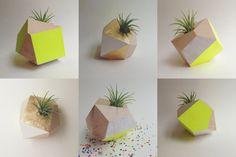 Geometric Neon Yellow & Gold Handpainted Planter