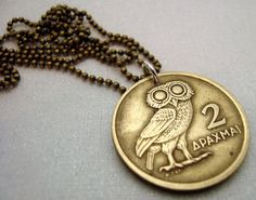 Vintage OWL of Athena COIN NECKLACE  1973 by FindsAndFarthings, $14.95