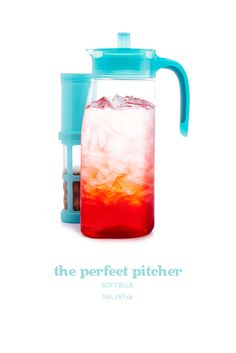 Learn more about Soft Blue Perfect Pitcher. Get all the information you need about Soft Blue Perfect Pitcher at DAVIDsTea Drinks Of The World, Iced Tea Pitcher, Davids Tea, Drinking Tea, Tea Time, Brewing, Tea Pots, Water Bottle, Crowd