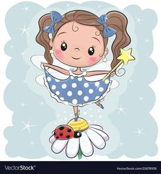 Cute fairy on the flower. Cute Cartoon fairy girl on the flower royalty free illustration Cartoon Cartoon, Cute Cartoon Girl, Cartoon Kunst, Cartoon Characters, Fairy Drawings, Cute Drawings, Cartoon Drawings, Doodle Art, Painting For Kids
