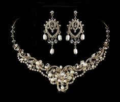Pearl and Crystal Gold Wedding Necklace and Chandelier Earrings - Affordable Elegance Bridal -