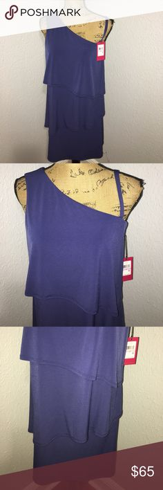NWT Vince Camuto Dress Gorgeous navy blue Vince Camuto 3 layer dress. This dress is perfect for a fall wedding or a date night. Please ask questions. Reasonable offers accepted. No lowball offers or trades! Vince Camuto Dresses