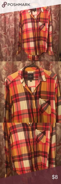 American Eagle boyfriend fit flannel size l. American Eagle boyfriend fit flannel size l. 100% viscose. Lay flat to dry for care. American Eagle Outfitters Tops Button Down Shirts