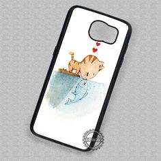 Cat Kissing A Fish Cartoon - Samsung Galaxy S7 S6 S5 Note 7 Cases & Covers