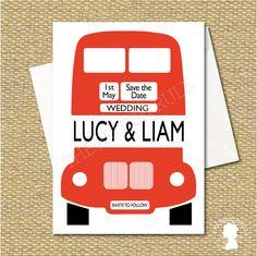 DIY Custom Printable London Red Bus Save the by TheBritishRule, $15.00 London Red Bus, Bridezilla, Wedding Save The Dates, London Wedding, Birthday Party Themes, Wedding Table, Party Planning, Party Time, Wedding Invitations