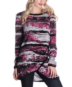 Look what I found on #zulily! Magenta Abstract-Stripe Wrap Tunic #zulilyfinds