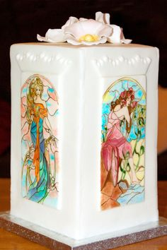 Hand painted fondant panels inspired by Stained Glass by Olimpia's interpretation of Mucha's The Seasons