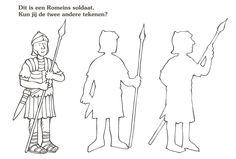 dit is een romeinse soldaat. kun jij de andere twee tekenen?