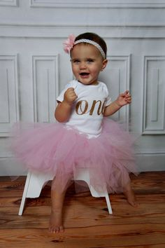 Baby Girls First Birthday Outfit - Pink and Gold - Birthday - First Birthday Girl - Girls First Birthday Outfits - Pink Tutu- Smash Cake First Birthday Themes, Baby Girl First Birthday, First Birthday Outfits, First Birthdays, Birthday Ideas, Pink Tutu, Tulle Tutu, Baby Messages, Gold Polka Dots