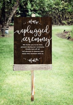 Unplugged Wedding Sign Printable Unplugged by tumbalinastudio signs Unplugged Wedding Sign Rustic Wedding Signs, Wedding Signage, Wedding Menu, Wedding Tips, Diy Wedding, Wedding Planning, Dream Wedding, Wedding Day, Wedding Ceremony Signs
