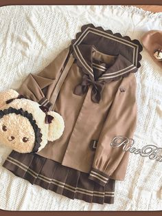 Chocolate Cookies Sailor Collar Coat by Riceball Edgy Outfits, Korean Outfits, Cute Casual Outfits, Pretty Outfits, Fashion Outfits, Harajuku Fashion, Kawaii Fashion, Lolita Fashion, Cute Fashion