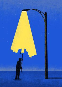 Journey to the City of No Horizon, by Tang Yau Hoong, a visual artist/illustrator/graphic designer from Kuala Lumpur, Malaysia. Tang's illustrations are as simple as possible. This is an example of his negative space art Art And Illustration, Art Illustrations, Art Pop, Tang Yau Hoong, Negative Space Art, Mellow Yellow, Blue Yellow, Bright Yellow, Yellow Art