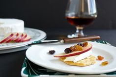 Raisins and dried blueberries plumped with brandy, served with camembert and tart crisp RubyFrost apples