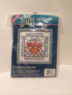"""Sunset Jiffy Needlepoint kit International Welcome 1991 5"""" X 5""""  08010 #Jiffy"""