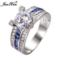 Junxin unieke sieraden blue ronde zircon stone ring wit goud gevuld bruiloft verlovingsringen voor vrouwen mannen