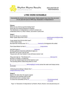 Printables Declaration Of Independence Worksheets declaration of independence song with free worksheets and activities