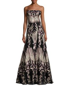 Strapless+Embroidered+Ball+Gown+w/+Stole,+Purple/Gold+by+David+Meister+at+Neiman+Marcus.