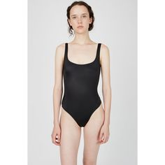Norma Kamali Lace Super Low Back Lace-Up Swimsuit ($250) ❤ liked on Polyvore featuring swimwear, one-piece swimsuits, black, lace one piece bathing suit, black lace swimsuit, lace swimsuit, black one piece bathing suit and swim suits