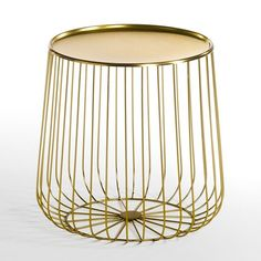 Bout de canapé fil métal, Cage