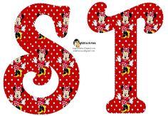 Alfabeto de Minnie Mouse en fondo rojo con lunares blancos. 2 versiones. | Oh my Alfabetos!