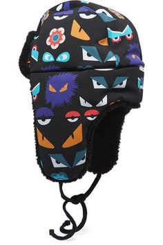 Fendi - Wonders Shearling-trimmed Printed Shell Down Trapper Hat - Black -