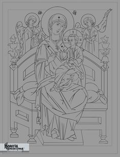 Образ Божией Матери «Всецарица» Religious Icons, Religious Art, Jesus Sketch, Coloring Books, Coloring Pages, Jazz Art, Jesus Art, Byzantine Icons, Cartoon Sketches